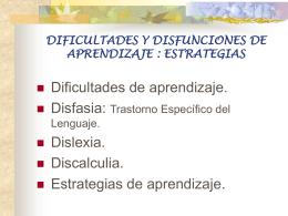 DIFICULTADES Y DISFUNCIONES DE APRENDIZAJE :