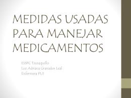 MEDIDAS USADAS PARA MANEJAR MEDICAMENTOS