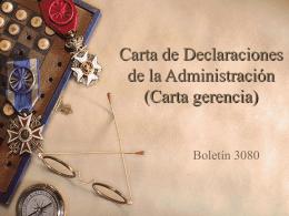 Carta de Declaraciones de la Administración (Carta