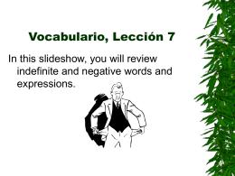 Vocabulario, Lección 7