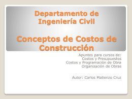 Departamento de Ingeniería Civil Costos de