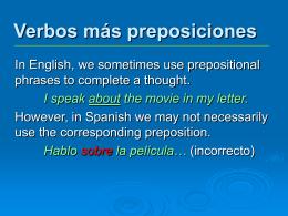 Verbos más preposiciones