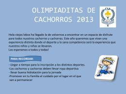 OLIMPIADITAS DE CACHORROS 2013