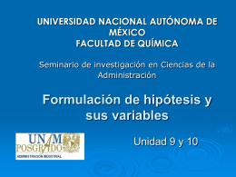 FORMULACIÓN DE HIPÓTESIS Y SUS VARIABLES