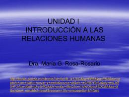 UNIDAD I INTRODUCCIÓN A LAS RELACIONES HUMANAS