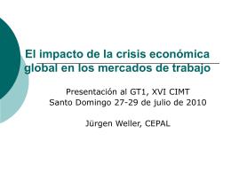 El impacto de la crisis económica global en los