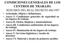 CONDICIONES GENERALES DE LOS CENTROS DE TRABAJO.