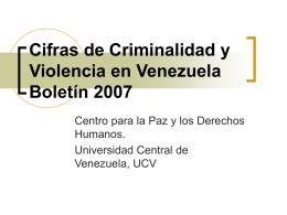 Cifras de Criminalidad y Violencia en Venezuela