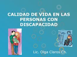 CALIDAD DE VIDA EN LAS PERSONAS CON DISCAPACIDAD