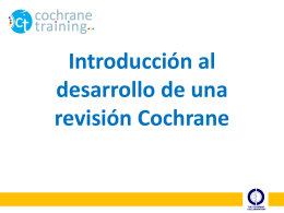 Introduction to writing a Cochrane review