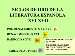 SIGLOS DE ORO DE LA LITERATURA ESPAÑOLA