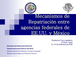 Mecanismos de Repatriación entre agencias