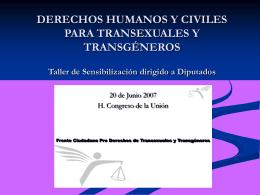 DERECHOS HUMANOS Y CIVILES PARA TRANSEXUALES Y