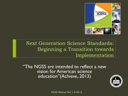Next Generation Science Standards: Beginning a