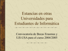 Estancias en otras Universidades para Estudiantes