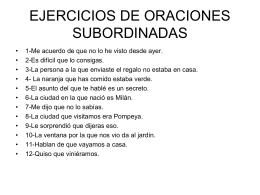 EJERCICIOS DE ORACIONES SUBORDINADAS