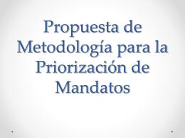 Metodología para la Priorización de Mandatos