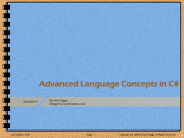 Advanced Language Concepts in C#