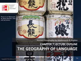 CHAPTER 7: GEOGRAPHY OF LANGUAGE