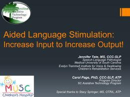 Aided Language Stimulation: Increase Input to