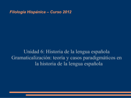 Filología Hispánica – Curso 2012