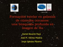 Formación estelar en galaxias de cúmulos cercanos:
