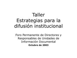 Estrategias para la difusión institucional