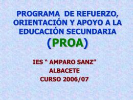 PROGRAMA DE REFUERZO, ORIENTACIÓN Y APOYO A LA