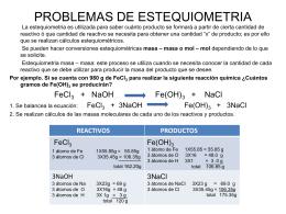 PROBLEMAS DE ESTEQUIOMETRIA