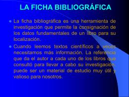LA FICHA BIBLIOGRÁFICA - Modalidades Educativas