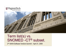 Term list(s) vs SNOMED -CT® subset.