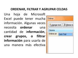 ORDENAR, FILTRAR Y AGRUPAR CELDAS