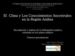 Climas Encontrados Conocimientos ancestrales y