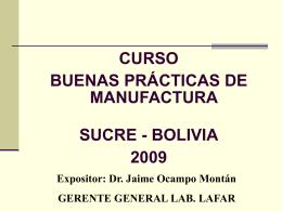 CURSO BUENAS PRÁCTICAS DE MANUFACTURA SUCRE -