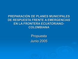 PREPARACIÓN DE PLANES DE MANEJO DE RIESGO EN