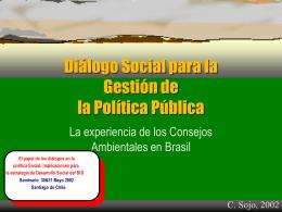 Diálogo Social para la Gestión de la Política