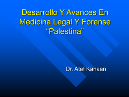 Desarrollo Medicina Legal En Palestina