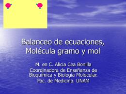 Balanceo de ecuaciones, Molécula gramo y mol