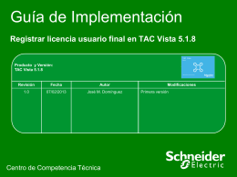 Registrar licencia usuario final en TAC Vista