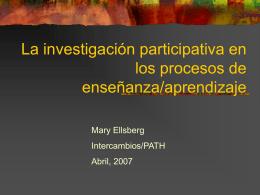 La investigación participativa en los procesos de