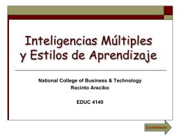 Inteligencias Múltiples y Estilos de Aprendizaje