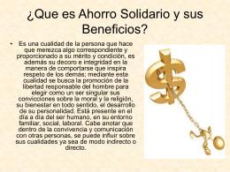 ¿Que es Ahorro Solidario y sus Beneficios? -