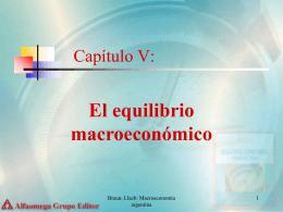 Capítulo V: El Equilibrio Macroeconómico