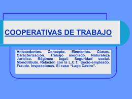 COOPERATIVAS DE TRABAJO - Departamento de Derecho