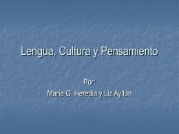 Lengua, Cultura y Pensamiento