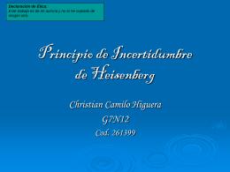 Principio de Incertidumbre de Heisenberg