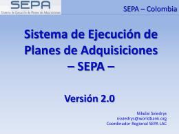 Sistema de Ejecucion de Planes de Adquisiciones – SEPA
