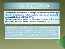 ESTRUCTURA DE LAS COMUNIDADES