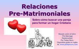Relaciones Pre-Matrimoniales