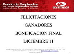 FELICITACIONES GANADORES BONIFICACION FINAL …